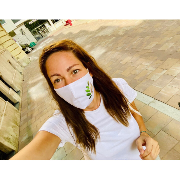 Cotton 2 Layer Face Mask white embroidered